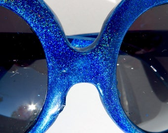 Royal Blue Holographic Heart Shaped Sunglasses