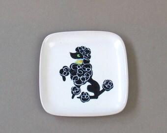 Vintage Glidden Black Poodle Stoneware Coaster Nut Dish