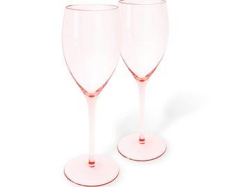 MCM Crystal Elegance Elegant Rose Mikasa Red Wine Pink Glass