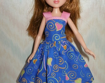 "Handmade 10.5"" teen sister fashion doll clothes - Blue and Pink Hearts Dress"