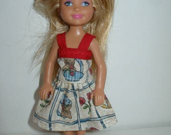 "Handmade 5.5"" little sister fashion doll clothes -kitten print dress"