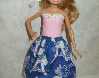 """Handmade 9"""" little sister fashion doll clothes - blue, pink and white Eiffel tower print dress"""