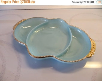 ON SALE Fire King Blue Delphite Turquoise Divided Dish with 24K Gold Edge-Mint Condition
