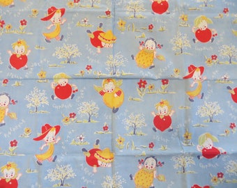 Vintage Cotton Fabric with Cute Children-Anthropomorphic-Childrens-feed sack-feedsack-Old