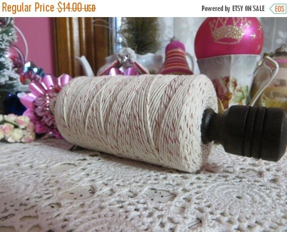 ON SALE Holiday Christmas Bakers Twine-Wholesale-175 yards-Spooled on a wooden spool