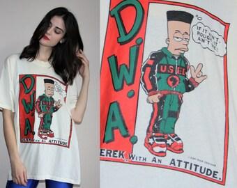 RARE Vintage Rapper Hip Hop Rap Urban Homie Derek with an Attitude NWA The Simpson's T Shirt  - 50/50 Cotton Poly Tee -  W00272