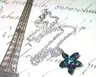 ON SALE The Swarovski Crystal Starfish Necklace in Vitrail Light - Aqua and Lavender - Swarovski Crystal Pendant and Sterling Silver