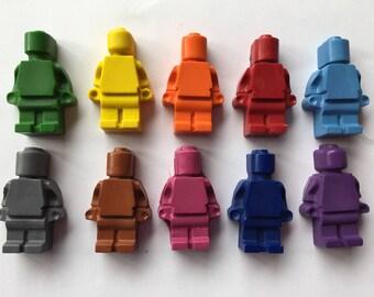 Crayons brick men  robot pack of ten various colours