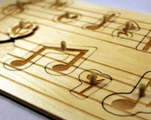 Wooden Music Peg Puzzle, Laser Cut Puzzle, Children's Puzzle, Peg puzzle, toddler game, Music notes, musical staff, teacher gift