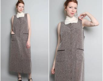 1990's Long Jumper Dress / Gray Minimalist Maxi / Sleeveless 90s Dress / Medium