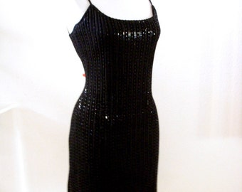 Vintage 90s Black Party Dress by St. John by Marie Gray - Black Sequin Evening Dress w Spaghetti Straps - Bombshell Cocktail Dress - Size 6