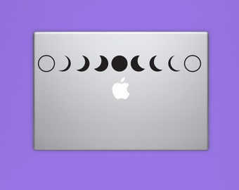 MOON PHASES Vinyl Decal, Alchemy Laptop Decal, Lunar Full Moon Decal, Computer Decal