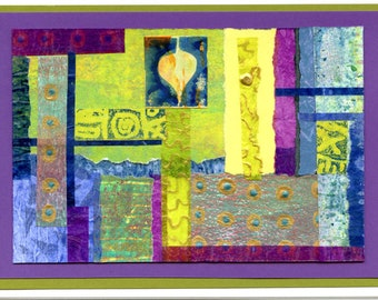 Original collage blank card mixed media greeting card purple green OOAK all occasion