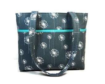 Dark Gray Tote, Dandelion Tote Purse, Dark Gray Shoulder Bag, Double Strap Purse, 6 Pocket Handbag, Spring Purse, Gray White Pocketbook