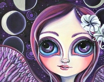 """ART PRINT """"Moon Phase Angel"""" by Jaz Higgins - perfect for a new age, bohemian, or astrological inspired home."""