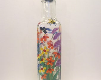 Hand Painted Wild Flowers Pour Oil Vinegar Soap Bottle Purple Pink  Red Yellow Blue Green w Dragonfly Butterflies Ladybugs and Bumblebees