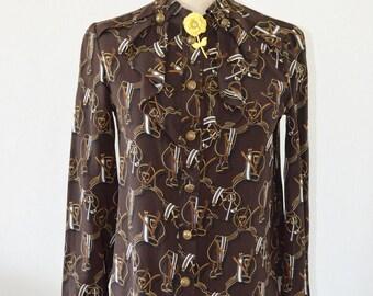 GUCCI Horse Bit Authentic Brown Print Tie Neck Long Sleeve Button Down Shirt