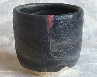 Yunomi Japanese Style Tea Cup Dry Black and Brick Red with Chrysanthemum carved foot design by artist George Watson