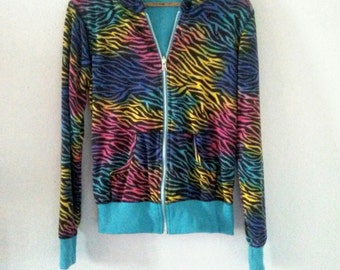Vintage / Zipperd Hoodie / Tiger Print / Colorful / Indie / Punk Rock / Grunge / Rock N Roll / Cute / Girly / Unique / Winter Style