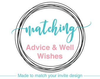 ADVICE and WELL WISHES, diy printable baby shower games, bridal shower activities, wedding advice card