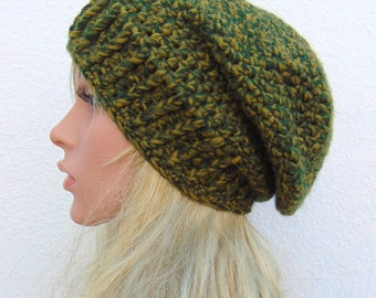 Crochet Green Slouchy Hat Womens Slouch Hat Handmade in Ireland
