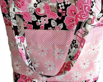 Large Lined Tote Bag, Market Bag, Grocery Bag, Overnight Bag, Carry All Bag, Craft / Project Bag - Pink, Brown and White