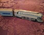 Vintage Tin Plate Toy Train 1930's Hudson J3-a STREAMLINER Locomotive & Tender, by Restoration Hardware early 1990s Repro