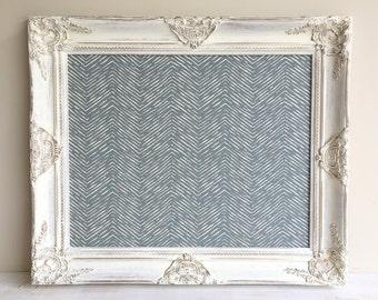 Inspiration Board BULLETIN BOARD Interior Designer Gift Charcoal Gray Chevron Fabric White Ivory Wall Calendar Holder Memo Board Magnetic