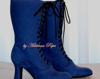 NEW Victorian Booties in Royal Blue leather Victorian shoes Historical boots  Ankle boots Custom boots