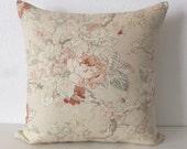Coral Peach Neutral Floral Pillow Cover