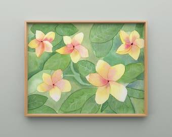 Plumeria Watercolor Print