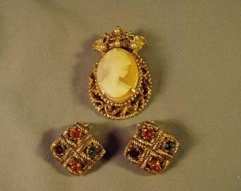 Vintage Florenza Cameo Pin Pendant Combo & Clip Rhinestone Earrings  9197