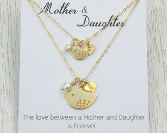 New! Mother Daughter Necklace Set, Birthday Gift for Mother or Wife, Mother and Baby Bird Pendant, Personalized Initial Heart Charm