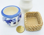 3 Fine Ceramic Containers for Handcrafted Miniature Polymer Clay Flowers Christmas Gifts
