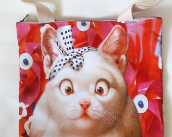 Cat kitten bow ribbon bell collar lucky fortune windmill funny kitty pet shopping tote shoulder bag lunch handbag 2 side image zipper purse