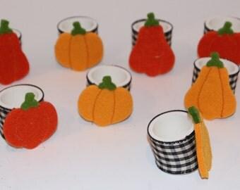 Pumpkin Gingham Napkin Rings Set of 8
