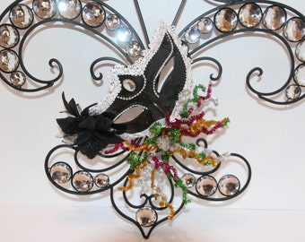 Fleur De Lis Wall Decor or Door Hanger Mardi Gras Mask