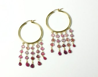 Pink Tourmaline Hoops, Gold