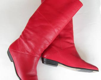 Vintage 1980s Ipanema Red Boots / 80s Leather Knee High Boots / Sized 7 fit 6 1/2