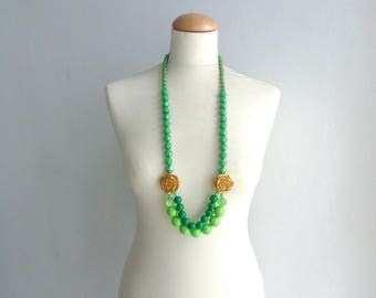 Green long necklace, flower necklace, long flower necklace, romantic necklace