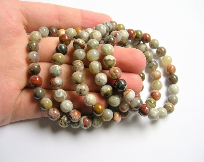 Laguna Lace Agate - 8mm round beads - 23 beads - 1 set - A quality  - HSG42