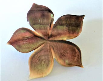 Mother of Pearl Brooch... Smoky Flower Shape