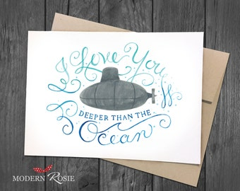 I Love You Deeper Than the Ocean - 5x7 Greeting Card
