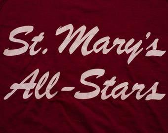 St. Mary's All-Stars T-Shirt, Ortho Pharmaceutical, Vintage 80s, Screen Stars, School Sports Team, Catholic, College University, High School