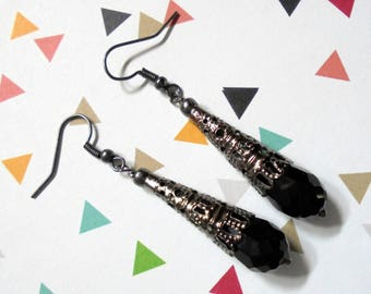 Black Filigree Teardrop Earrings (3560)