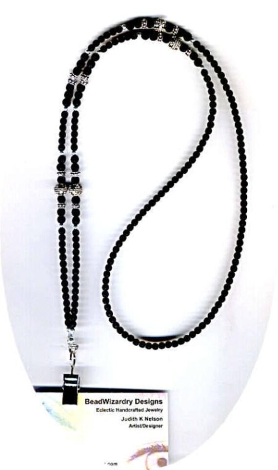 Men's Unisex Classic Matte Jet Black Faceted Czech Beaded ID Badge Lanyard or Eyeglass Chain
