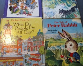 Children's books lot of 4 vintage oversized Big Golden Books Peter and the Wolf Tale of Peter Rabbit Never Talk to Strangers What do People