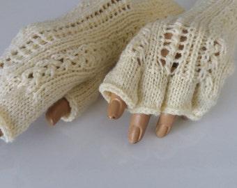 Cream Half Finger,ivory color gloves