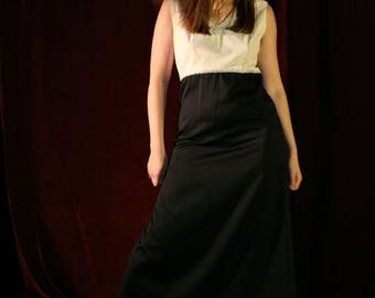 MaySale Vintage 60s 70s Maxi Dress, Black and White Gown