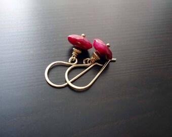 Ruby Earrings, Dangle Earrings, July Birthstone, 14kt Gold Filled